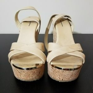Jimmy Choo Nude Patent Leather Wedge Sandals 35 5